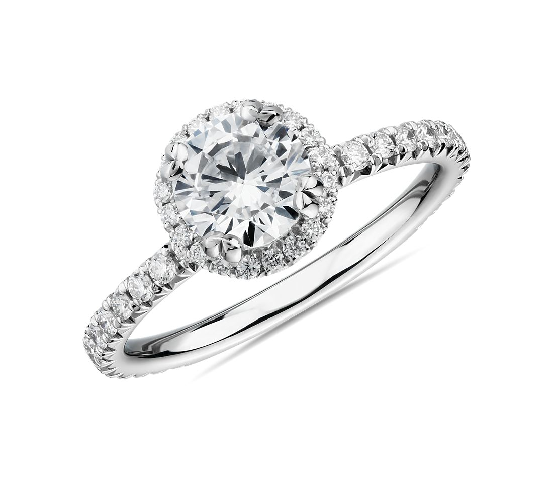 3/4 Carat Ready-to-Ship Blue Nile Studio Heiress Halo Diamond Engagement Ring in Platinum