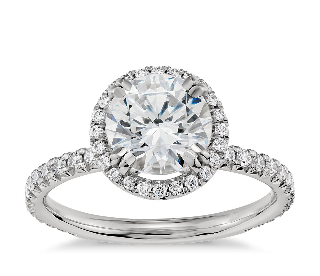 blue nile studio heiress halo diamond engagement ring in platinum 25 ct tw - Blue Wedding Ring