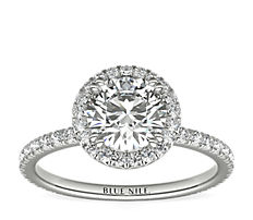 Blue Nile Studio Heiress Halo Diamond Engagement Ring in Platinum (3/8 ct. tw.)