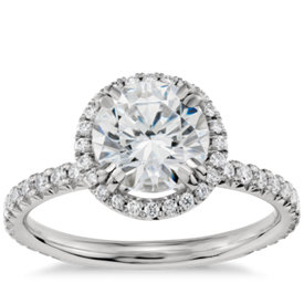 blue nile studio heiress halo diamond engagement ring in platinum 25 ct tw - Halo Wedding Rings