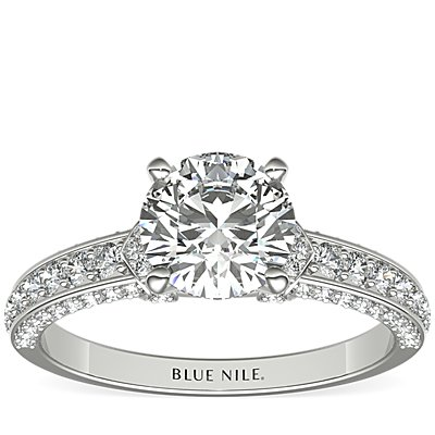 Blue Nile Studio Imperial Micropavé Diamond Engagement Ring in Platinum (3/8 ct. tw.)
