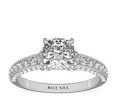 Blue Nile Studio Imperial Micropavé Diamond Engagement Ring in Platinum (0.41 ct. tw.)