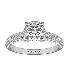 Blue Nile Studio Imperial Micropavé Diamond Engagement Ring in Platinum (0.41 ct. tw.)