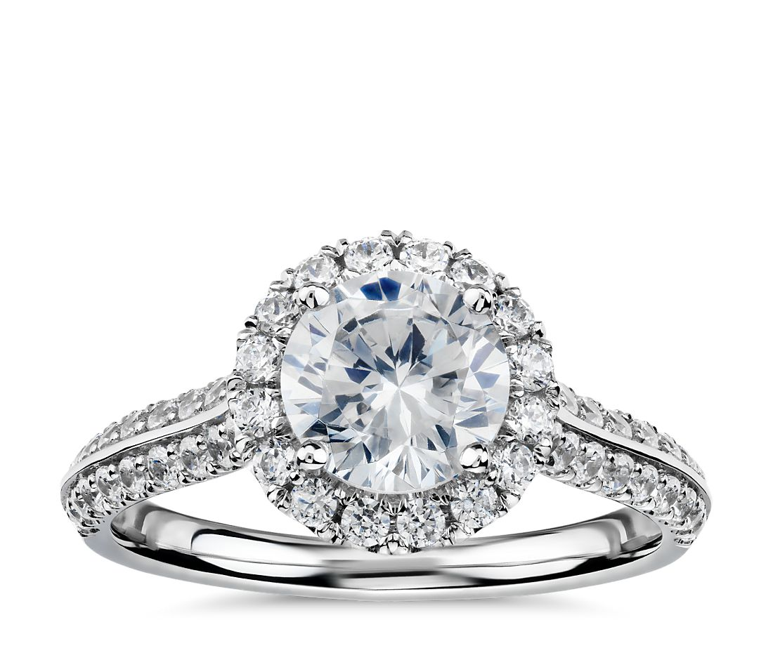 Blue Nile Studio Knife Edge Double Pavé Diamond Halo Engagement Ring in Platinum (1/2 ct. tw.)