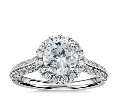 Blue Nile Studio Knife Edge Double Pavé Diamond Halo Engagement Ring in Platinum (1/2 ct. tw.)