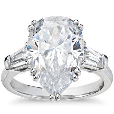 Blue Nile Studio Pear Tapered Baguette Engagement Ring in Platinum