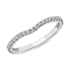 Blue Nile Studio Petite Crown Curved Diamond Ring in Platinum (1/3 ct. tw.)