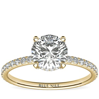 Blue Nile Studio Petite French Pavé Crown Diamond Engagement Ring in 18k Yellow Gold (1/3 ct. tw.)