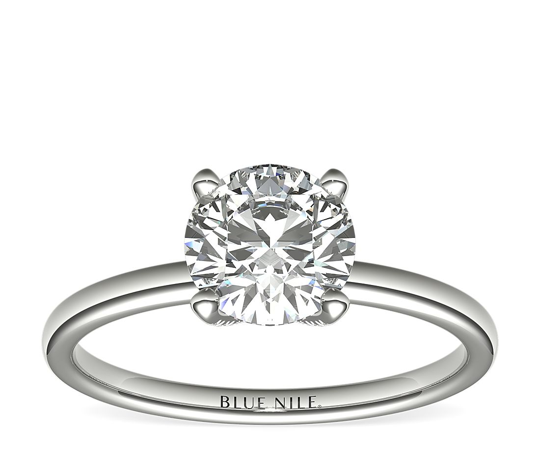 Blue Nile Studio French Pavé Diamond Crown Solitaire Engagement Ring in Platinum (1/6 ct. tw.)