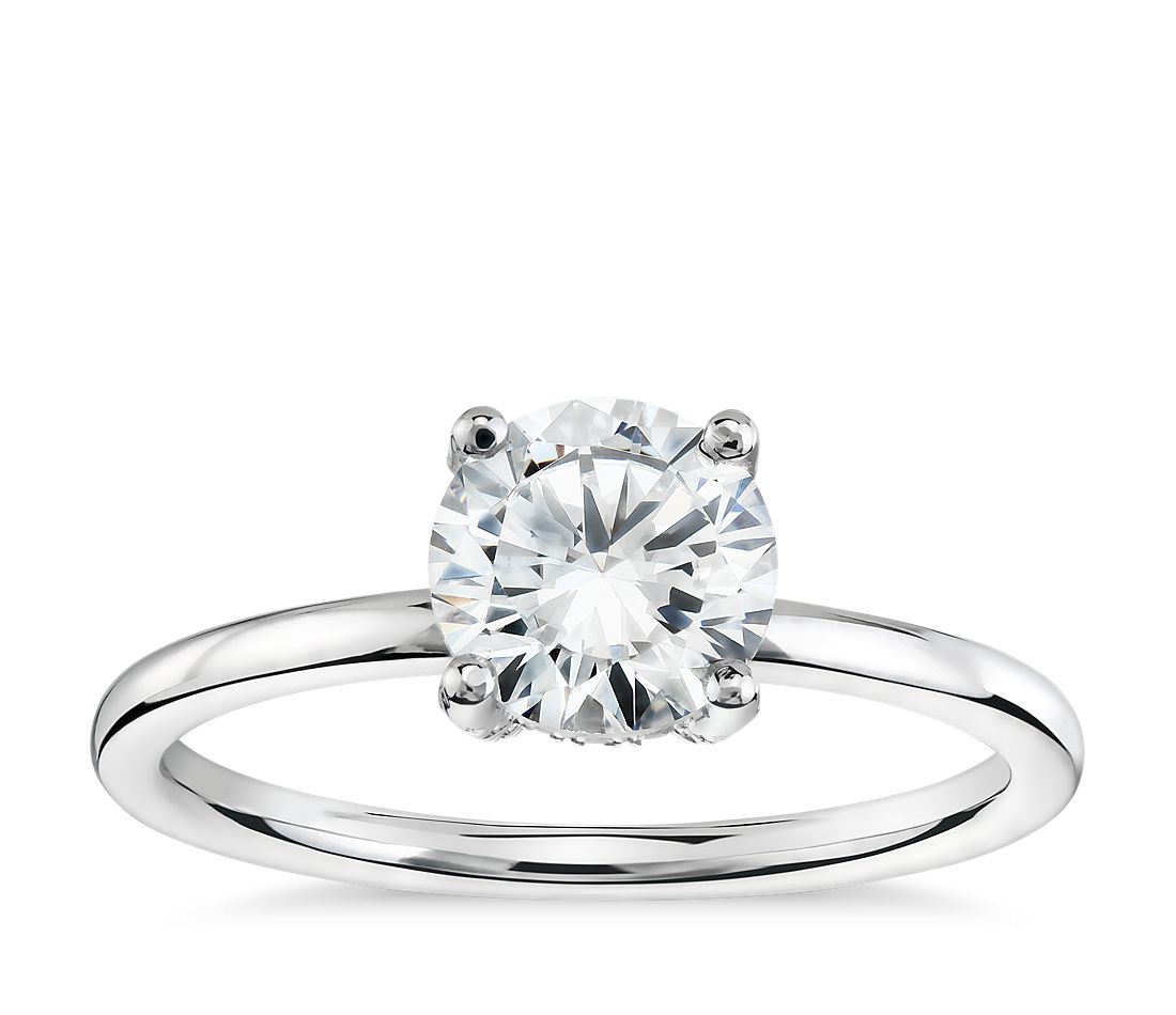 blue nile studio french pav diamond crown solitaire engagement ring in platinum 16 ct tw - Crown Wedding Ring