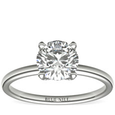 Blue Nile Studio French Pavé Diamond Crown Solitaire Engagement Ring in Platinum