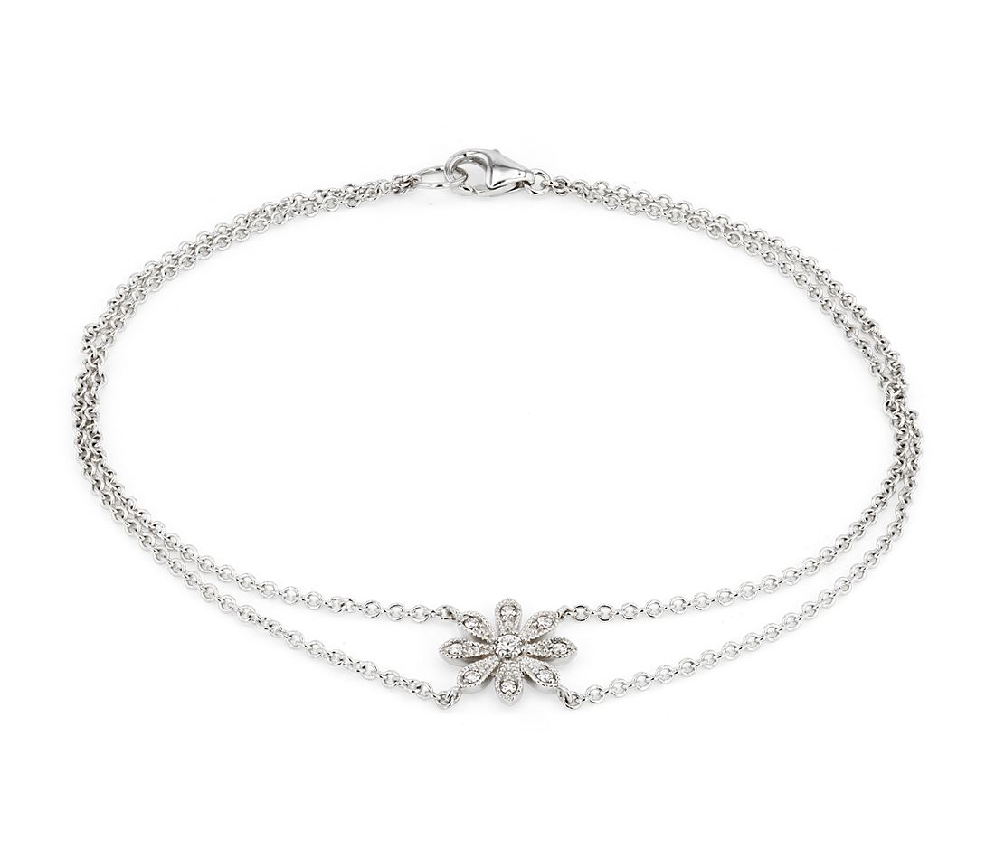 Blue Nile Studio Petite Diamond Daisy Flower Bracelet in 14k White Gold