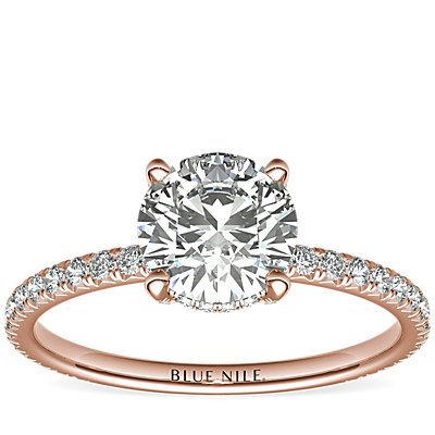 18k 玫瑰金 Blue Nile Studio 小巧法式密钉皇冠钻石订婚戒指<br>(1/3 克拉总重量)
