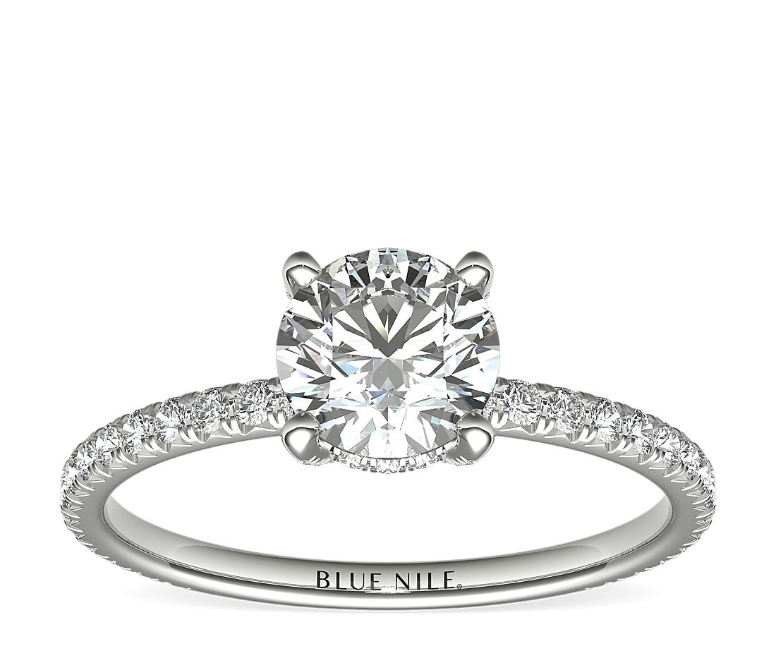 3/4 Carat Ready-to-Ship Blue Nile Studio Petite French Pavé Crown Diamond Engagement Ring in Platinum
