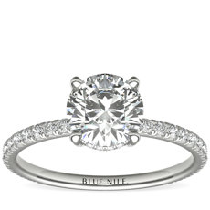 1 Carat Ready-to-Ship Blue Nile Studio Petite French Pavé Crown Diamond Engagement Ring in Platinum