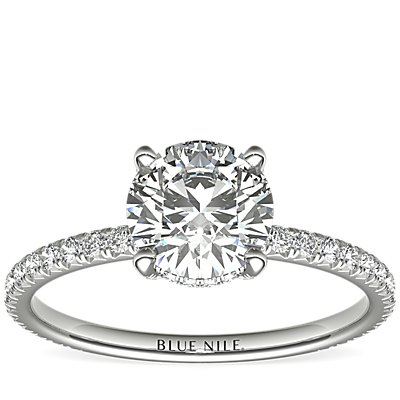 Blue Nile Studio Petite French Pavé Crown Diamond Engagement Ring in Platinum (1/3 ct. tw.)