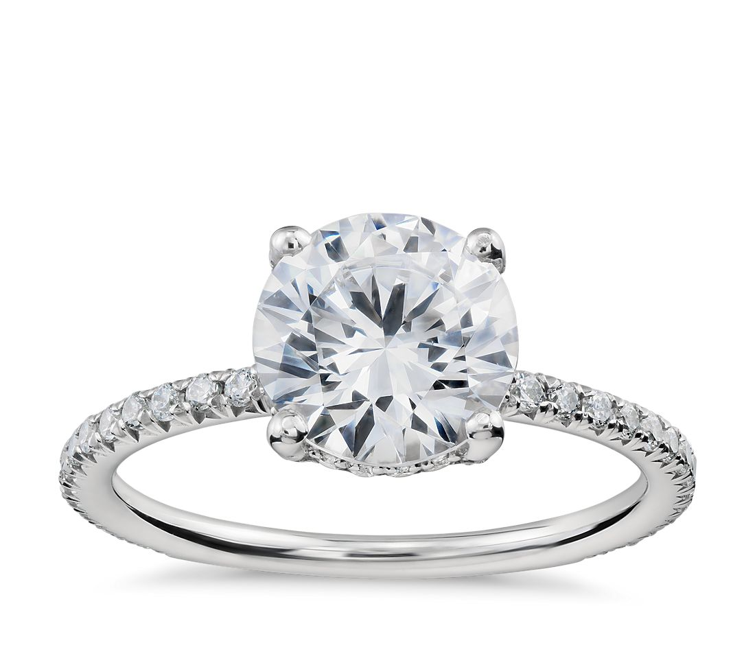 blue nile studio petite french pav crown diamond engagement ring in platinum 13 ct tw - Crown Wedding Rings
