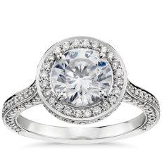 鉑金 Blue Nile Studio 皇家光環鑽石訂婚戒指(2/3 克拉總重量)