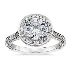 Blue Nile Studio Royal Halo Diamond Engagement Ring in Platinum (2/3 ct. tw.)