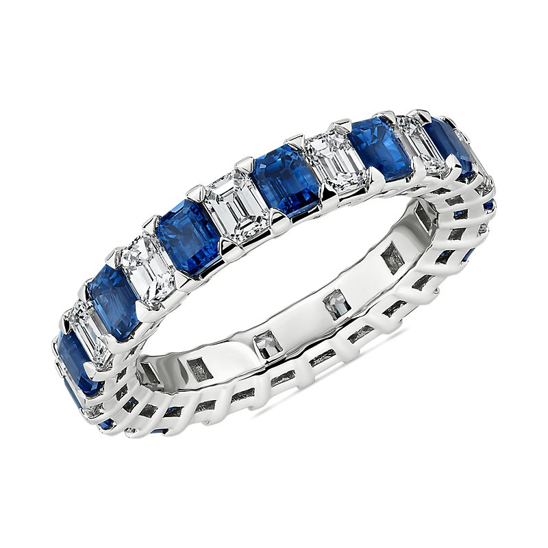 Blue Nile Studio Seamless Alternating Emerald Cut Diamond and Sapphire Eternity Band in Platinum- G/VS2 (1 1/2 ct. tw.)