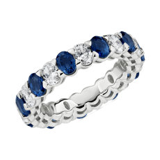 NEW Blue Nile Studio Seamless Alternating Oval Cut Diamond and Sapphire Eternity Band in Platinum- G/VS2 (1 1/2 ct. tw.)