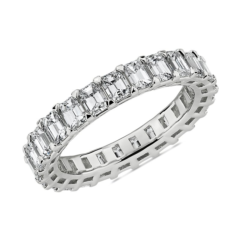 Blue Nile Studio Seamless Emerald Cut Diamond Eternity Band in Pl
