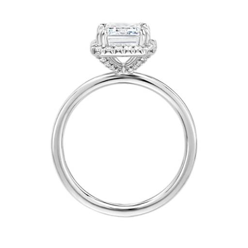 Blue Nile Studio Simple Emerald-Cut Halo Diamond Engagement Ring
