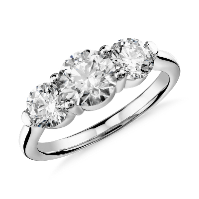 Blue Nile Signature Comfort Fit ThreeStone Diamond Ring in Platinum