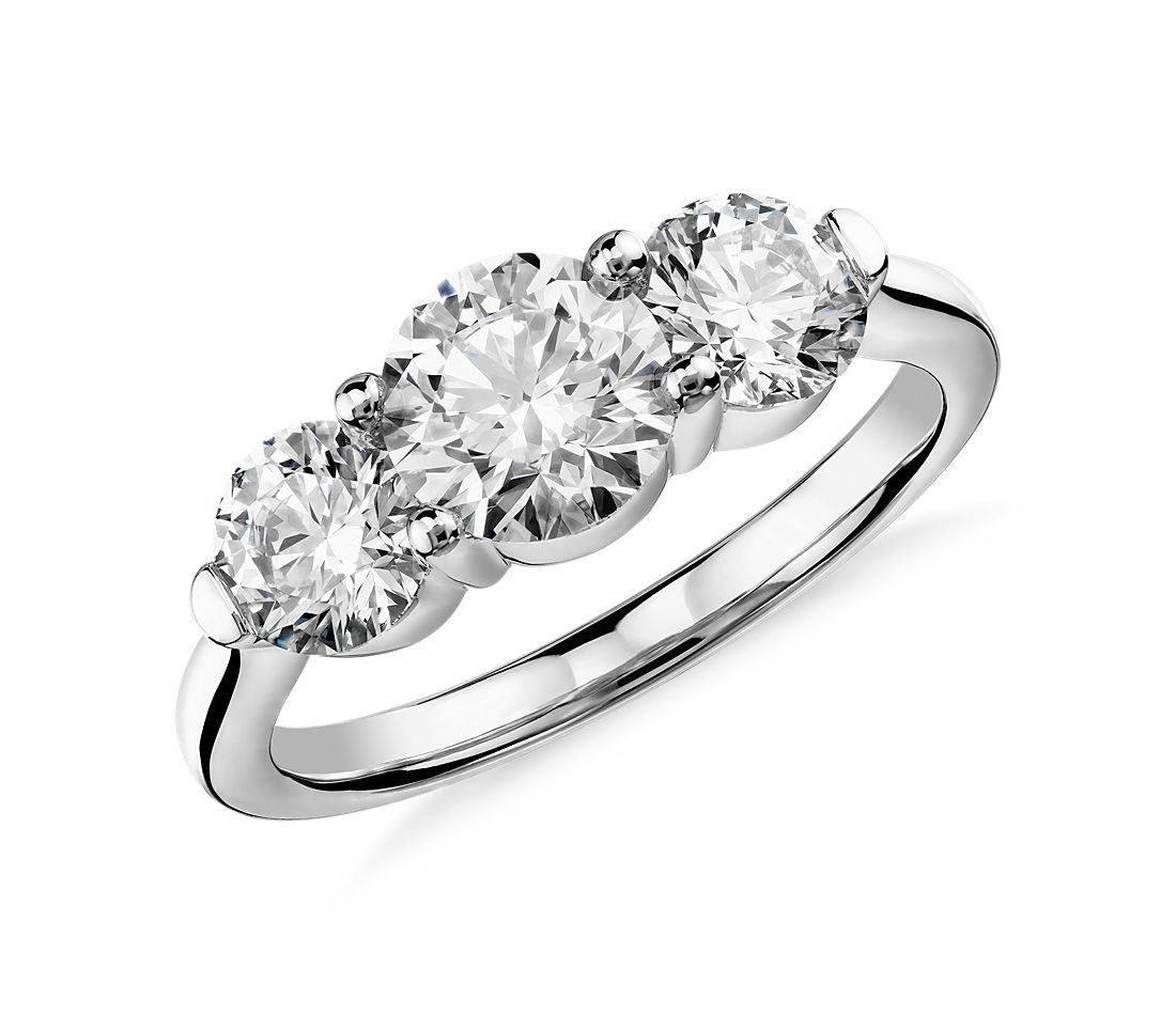Blue Nile Signature Comfort Fit Three-Stone Diamond Ring in Platinum (2 ct. tw.)