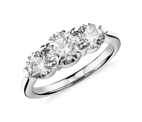 Blue Nile Signature Comfort Fit Three Stone Diamond Ring In Platinum (2 Ct.