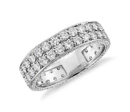 鉑金 Blue Nile 工作室 Tres Jolie 鑽石永恆戒指<br>( 2 克拉總重量)