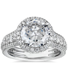Blue Nile Studio Graduated Triple Pavé Rollover Diamond Halo Engagement Ring in Platinum