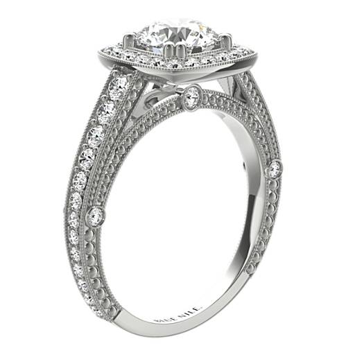 Blue Nile Studio Victorian Halo Diamond Engagement Ring