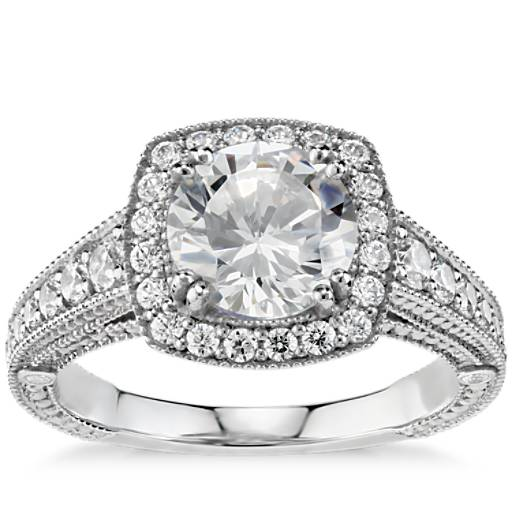 Engagement Ring Selection Guide: Blue Nile Studio Victorian Halo Diamond Engagement Ring In