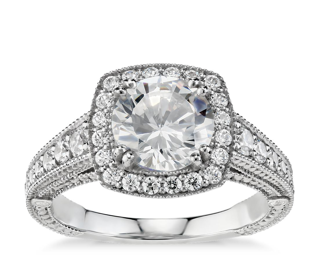 Blue Nile Studio Victorian Halo Diamond Engagement Ring in Platinum
