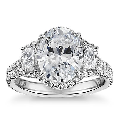 The Gallery Collection Vintage Oval Halo Trapezoid Diamond Engagement Ring in Platinum