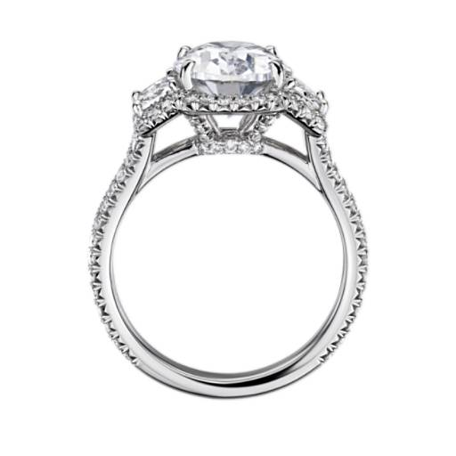 The Gallery Collection Vintage Oval Halo Trapezoid Diamond Engagement Ring
