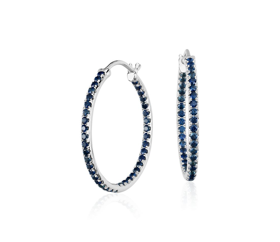 Riviera Sapphire Hoop Earrings in 14k White Gold (1.5mm)