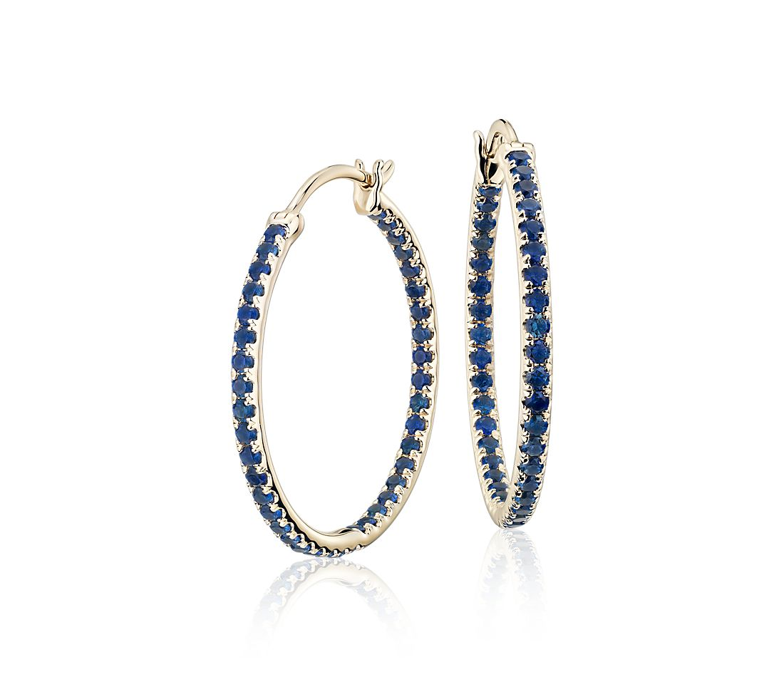 Riviera Sapphire Hoop Earrings in 14k Yellow Gold (1.5mm)