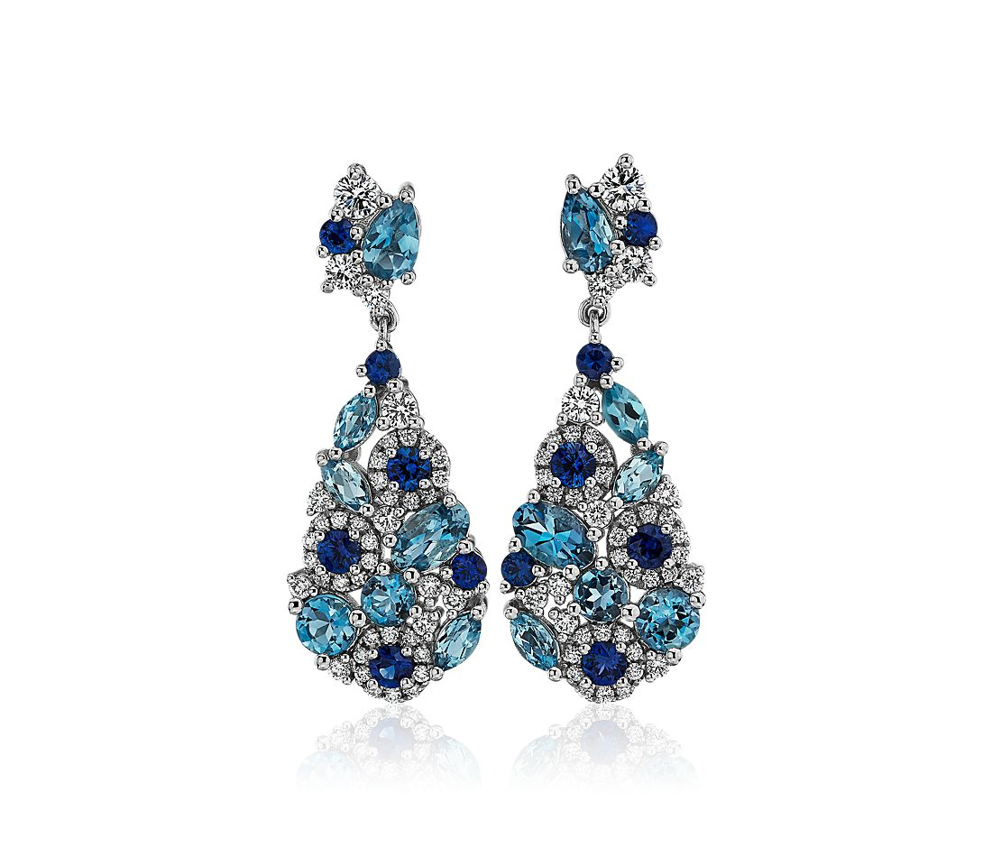 Blue Sapphire and Aquamarine Cluster Drop Earrings in 18k White Gold