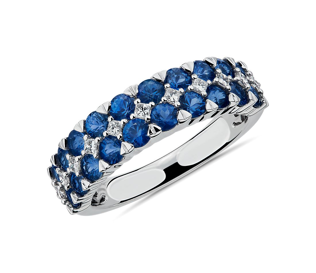 Blue Sapphire and Diamond Double Row Ring in 14k White Gold