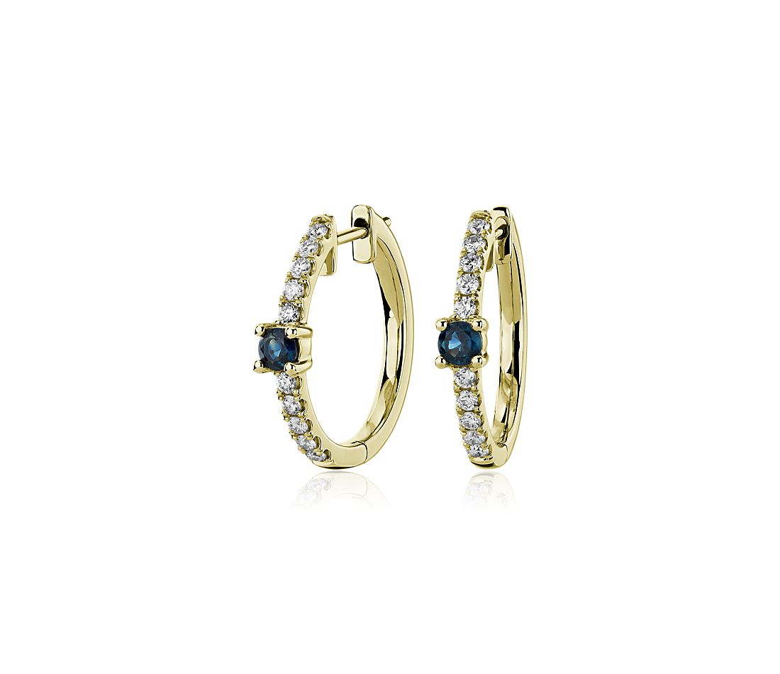 Blue Sapphire and Diamond Hoop Earrings in 14k Yellow Gold