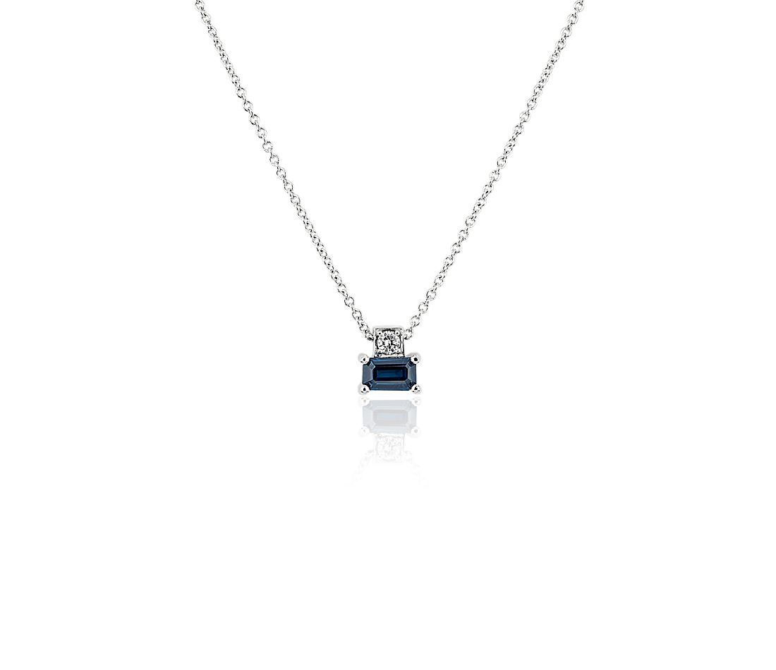 Blue Sapphire and Diamond Solitaire Pendant in 14k White Gold