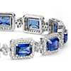 Emerald-Cut Sapphire and Pavé Diamond Halo Bracelet in 18k White Gold