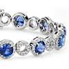 Blue Sapphire and Open Circle Pavé Diamond Bracelet in 18k White Gold (5.5mm)
