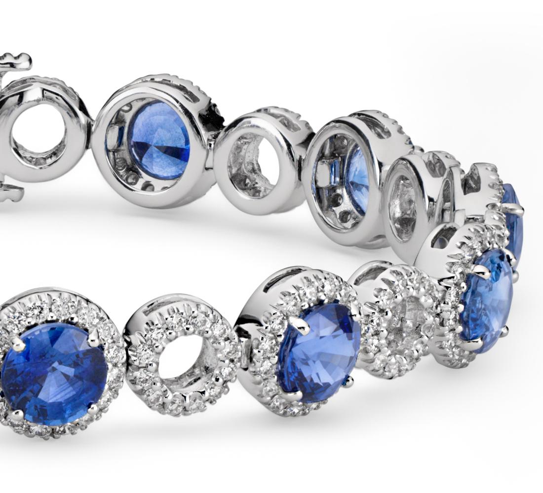 Brazalete con pavé de diamantes de círculo abierto y zafiro azul en oro blanco de 18 k (5,5mm)