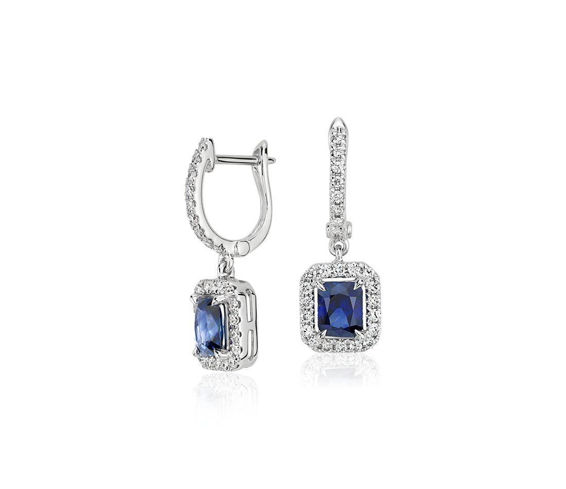 Radiant Sapphire and Diamond Drop Earrings in 14k White Gold (5x4mm)