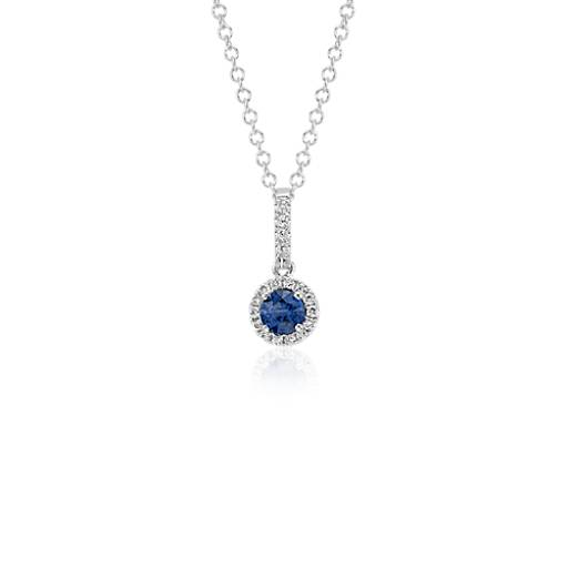 sapphire and diamond drop pendant in 14k white gold 4mm