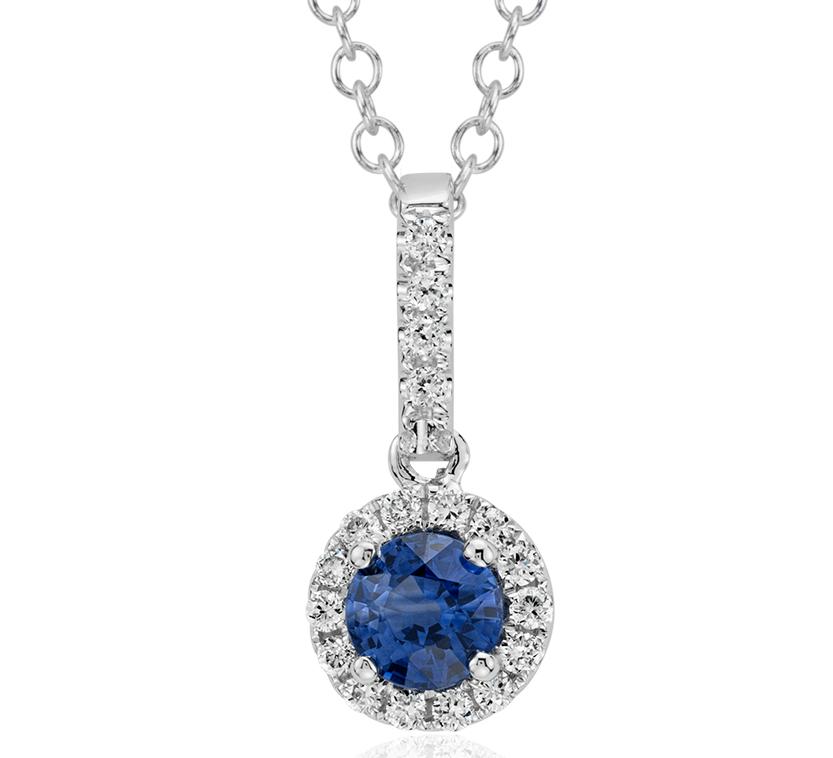Pendentif goutte diamant et saphir en or blanc 14carats (4mm)