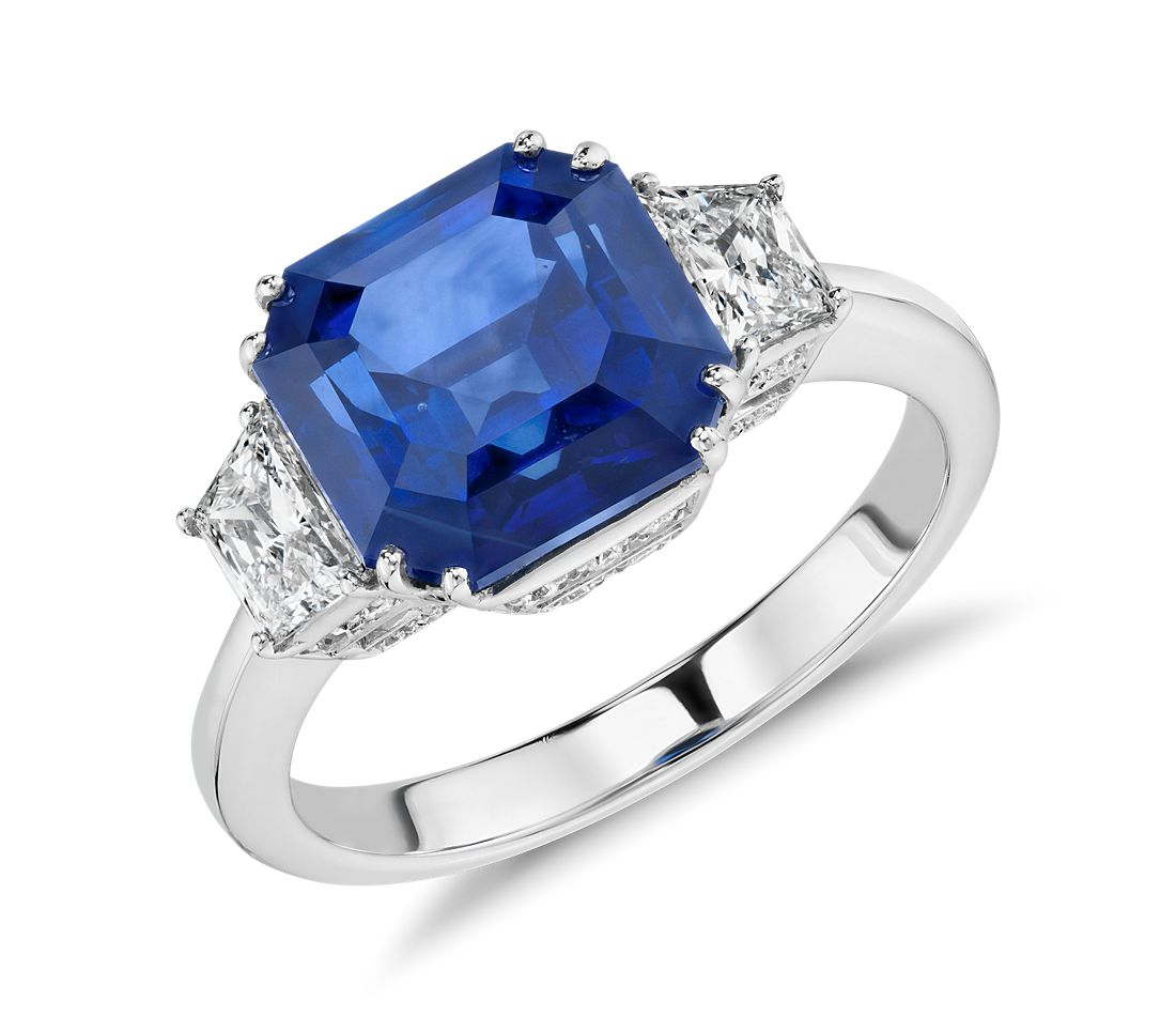 f75676662e61c Blue Sapphire and Diamond Three-Stone Ring in 18k White Gold (5.52 ct.)  (9x7mm)